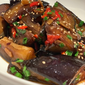 Shanghai style eggplant with garlic and chilli